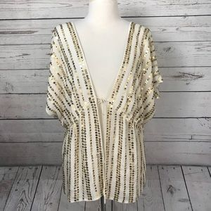 Soft surroundings silk topper gold sequin top